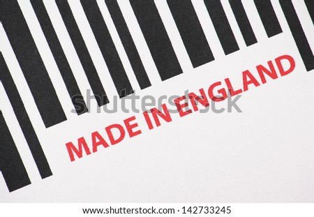 A barcode with the words Made in England as a concept for manufacturing and export trade