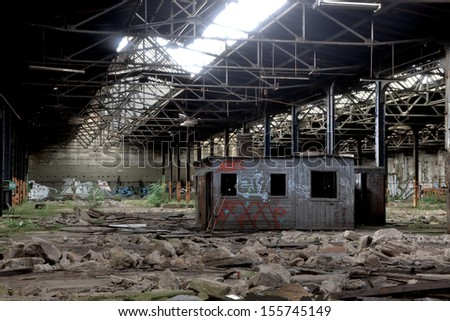 a barrack in a disused factory in Magdeburg - stock photo