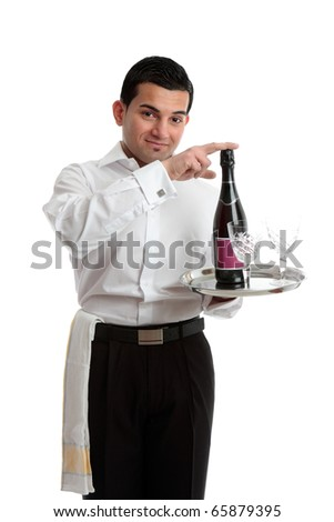 A bartender or waiter recommending wine or champagne. - stock photo