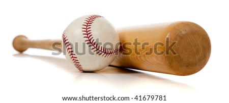 A baseball and wooden bat on a white background