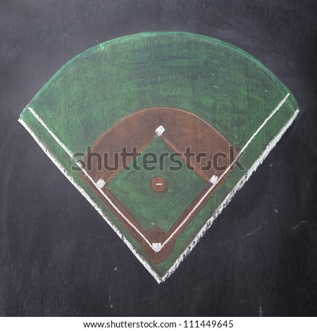 A baseball field is hand-drawn on a chalkboard. - stock photo