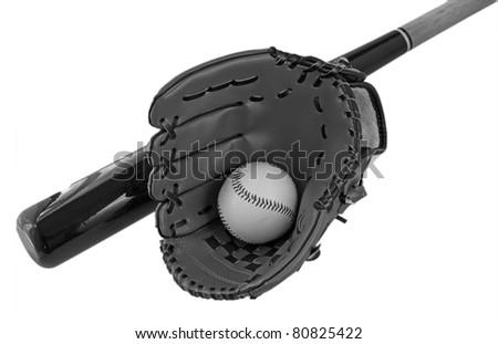 A baseball inside a baseball glove over white background, with bat - stock photo