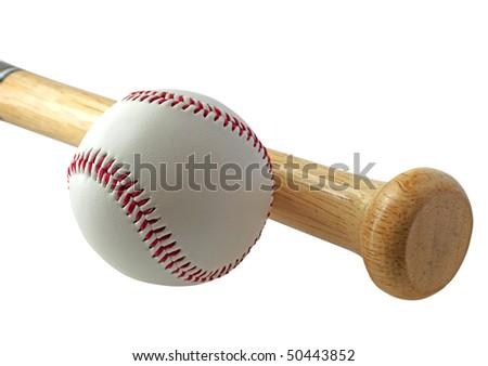 A baseball near a bat on white background - stock photo