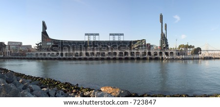 A baseball stadium along the San Francisco waterfront.