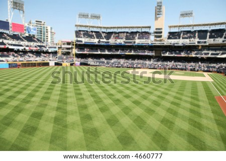 A baseball stadium with outdoor seating and field - stock photo