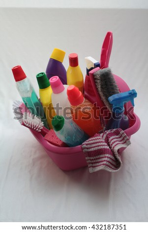 A basin with cleaning equipment - stock photo