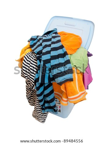 A basket of dirty laundry. isolated - stock photo