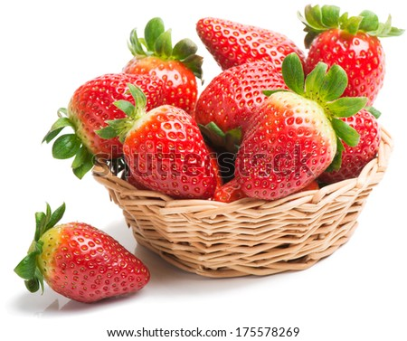 A basket of strawberries isolated on a white background
