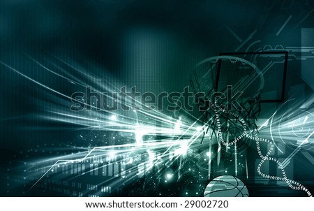 A basketball is coming down through net	 - stock photo