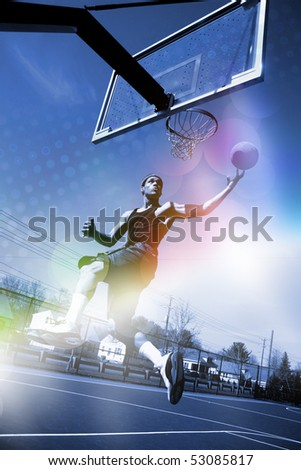A basketball player drives to the hoop for a slam dunk with abstract rainbow lens flare and halftone effects.