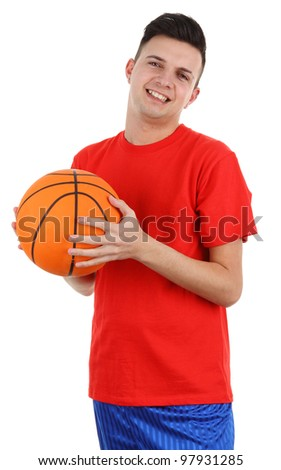 A basketball player, isolated on white - stock photo