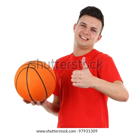 A basketball player with a thumbs up sign, isolated on white - stock photo