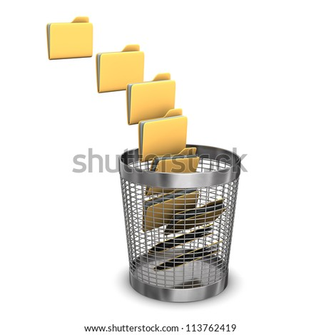 A batch of folders with a wastebasket on the white background. - stock photo