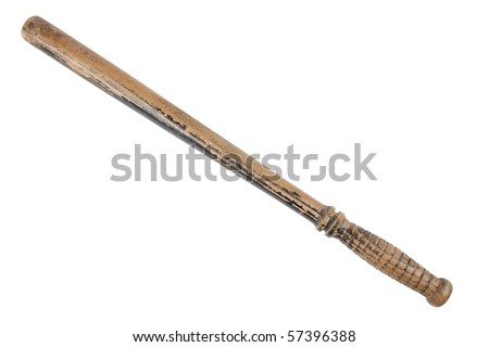 A battered antique police nightstick isolated on a pure white background. - stock photo