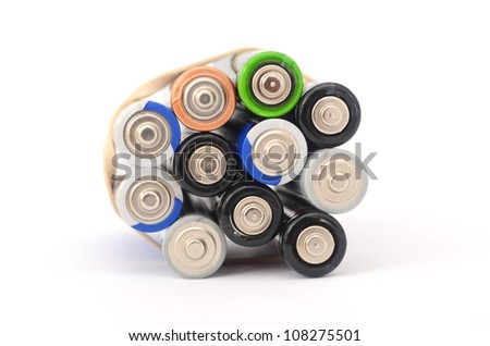 A battery bunch isolated white background