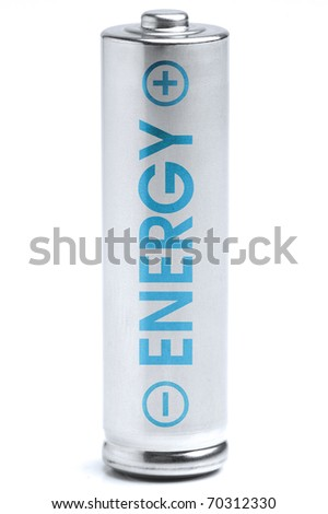 A battery. Energy supply equipment. Isolated on white background. Blue energy. - stock photo