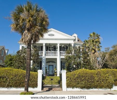 A Battery Romanesque - Victorian House style of architecture, built in the early 1800's in Charleston, South Carolina. - stock photo