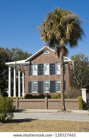 A Battery Romanesque - Victorian House style of architecture in Charleston, South Carolina. - stock photo