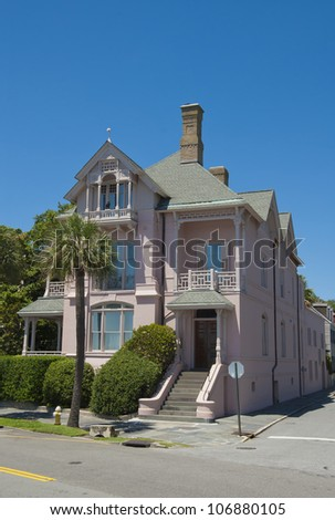 A  Battery Victorian era and style of house in Charleston, South Carolina. - stock photo