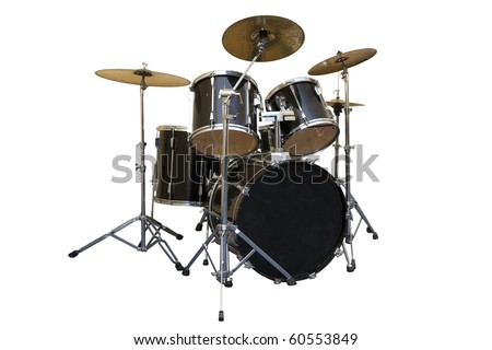 A battery with all drums and cymbals - stock photo