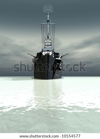 A battleship coming towards you - stock photo