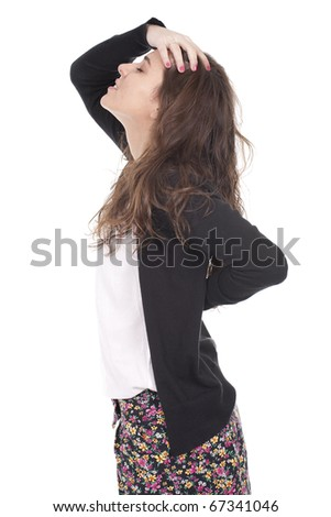 a bautiful woman suffering with pain in her back - stock photo