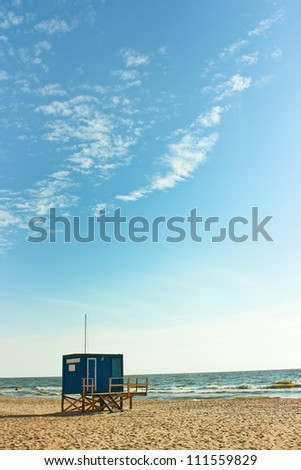 A baywatch tower at the Baltic sea - stock photo