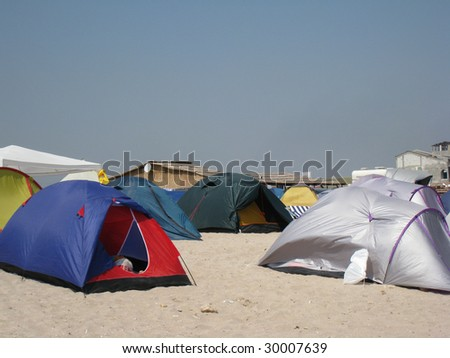 A beach full of tents