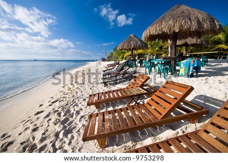 A beach in the Mexican Caribbean in the island of Cozumel. - stock photo