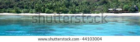 A beach on the beautiful islands of Fiji - stock photo