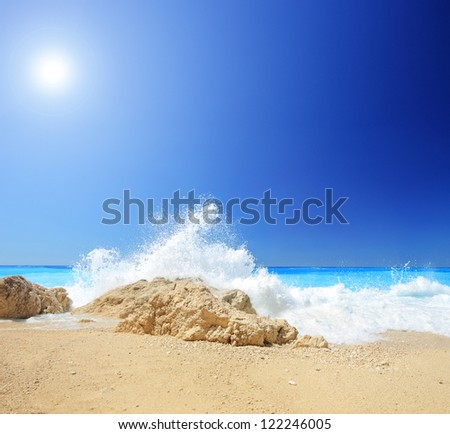A beach scene at Porto Katsiki in Greece, Lefkada, shot with a tilt and shift lens - stock photo