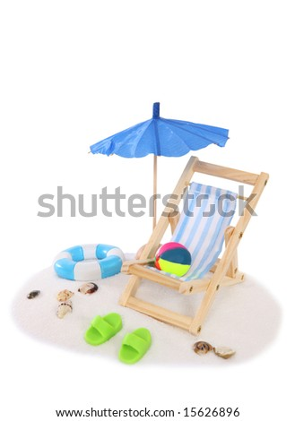 A beach setting with chair, umbrella, sand over white background