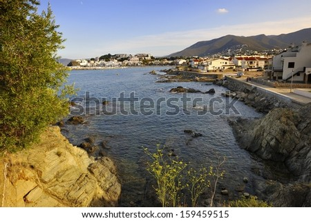 A beach town of Llanc��a, in Catalonia, Spain