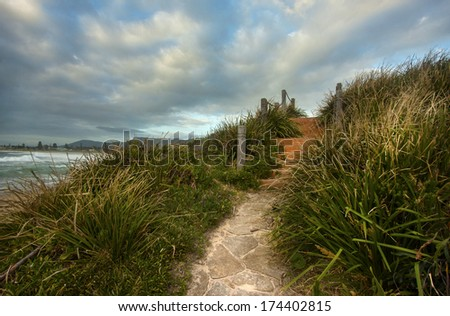 a beachside view in Bulli, Wollongong - stock photo