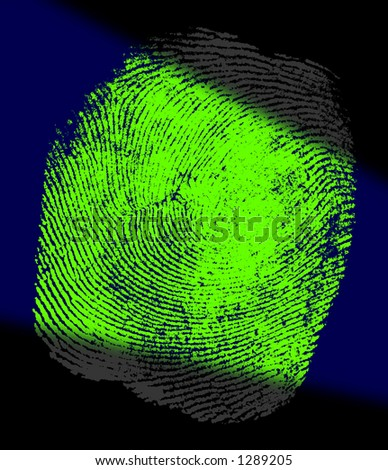 A Beam UV Light Reveals the Hidden Fingerprint Evidence. - stock photo