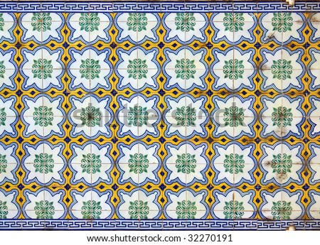 A beautiful abstract tile pattern in blue, yellow, green and white