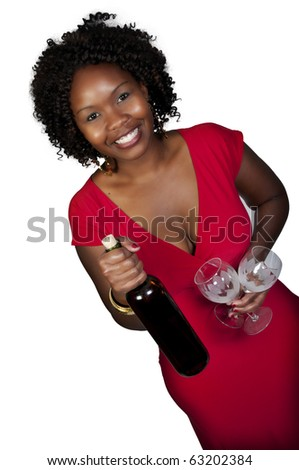 A beautiful African American woman holding wine - stock photo