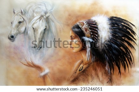 A beautiful airbrush painting of a young native indian woman wearing a gorgeous feather headdress, with an image of two white horse spirits hovering above her palm profile portrait eye contact - stock photo