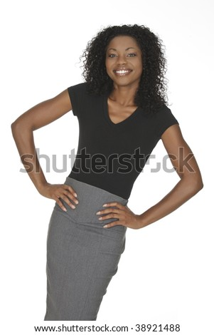 A beautiful and confident African American businesswoman on white background