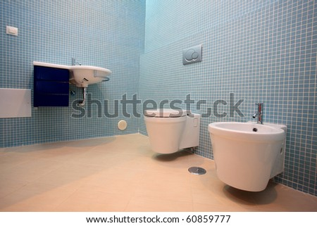 A beautiful and modern bathroom - stock photo