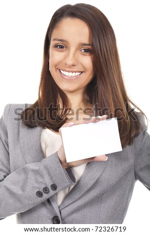 a beautiful and smiling woman holding an empty card - stock photo