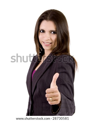 A beautiful and successful women is giving a thumbs up