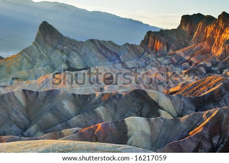 """A beautiful and well-known part of Death valley """"Zabriskie-point"""". - stock photo"""