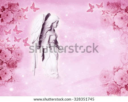 a beautiful angel with butterflies and copy space - stock photo