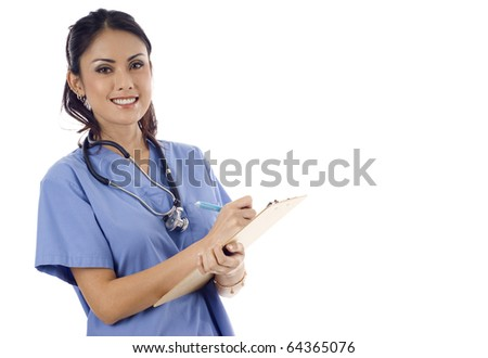 A beautiful Asian healthcare worker writing on the clipboard with copyspace isolated over white background - stock photo