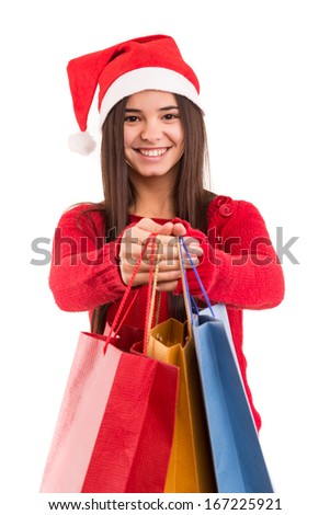A beautiful asian woman with santa claus hat offering gifts