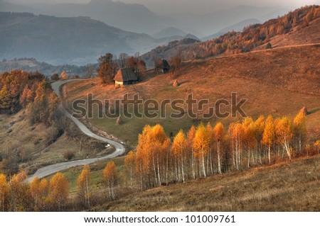 A beautiful autumn landscape from Transylvania,Romania. - stock photo