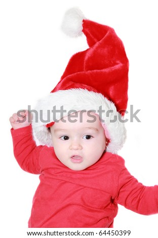 A beautiful baby in Santa suit