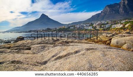 A beautiful bay below Lion's Head in Bakoven, Cape Town - stock photo