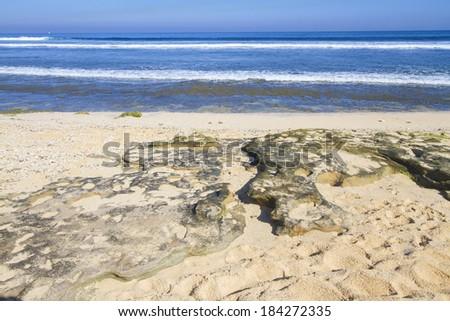 A beautiful beach on a hot and sunny day, Balangan beach, Bali. - stock photo